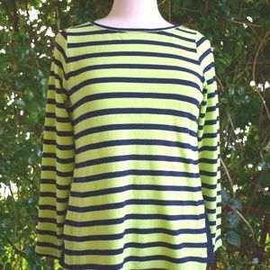 Crown & Ivy cotton striped green navy blue top